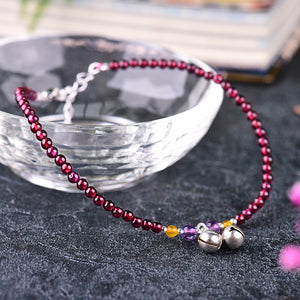 Garnet Jingle Bell Detail Ankle Bangle