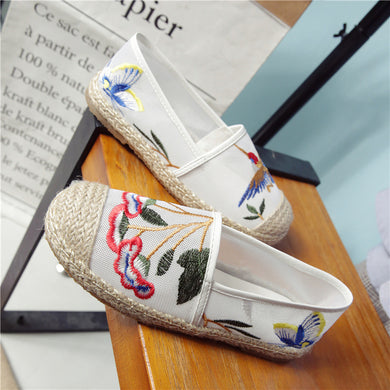 Embroidery Flower Breathable Mesh Slip On Shoes