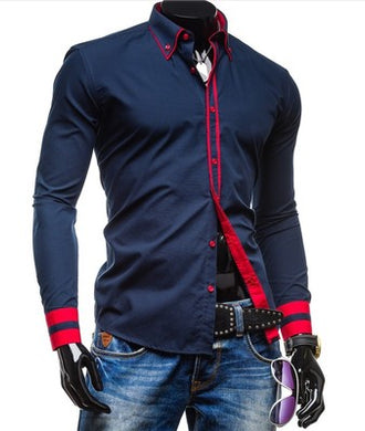 Button Down Collar Long Sleeves Dual Color Details Dress Shirts for Men