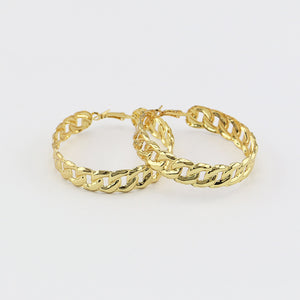 Exaggerated Gold Color Link Chain Hollow Earring For Women Hiphop Statement Long Party Jewelry Night Club Earrings