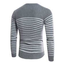 Stripes Pattern Slim Fitting Long Sleeves Round Neck Sweateres