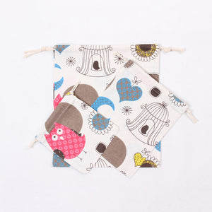 Heart Owl Small Cotton Pouch Pocket Wedding Gift Storage Bag