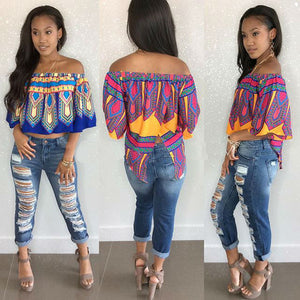 Exotic Pattern Printed Off Shoulder Women's Fashion Blouse