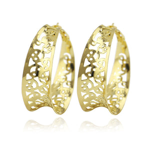 Fashion Hollow Out Flower Earring For Women Vintage Gold Geometric Circle Drop Earring Brincos Party Jewelry