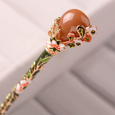 Cross-Boundary Cargo Source Cloisonne Headwear Vintage Lady Hairpin Imitation Jade Design Hairpin Hair Pin Headdress