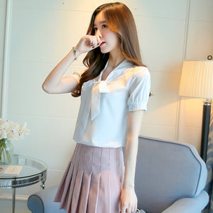 Women Bowknot Chiffon Blouse Shirt Fashion Office Lady Shirt Casual Tops