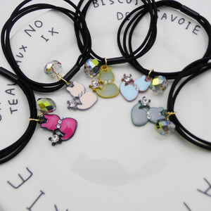 6 pcs Cat Pendant Black Elastic Hair Tie
