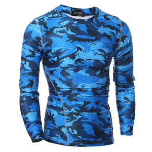 Quick Dry Slim Fitting Camouflarge Long Sleeves Men's Sportswear