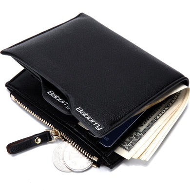 Men Wallets Vintage Wallet Zip Coin Pocket Purse PU Leather Wallet For Mens