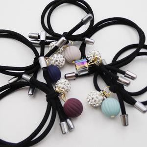 6 Pcs Beautiful Pompom Pendant with Rhinstone Hair Tie