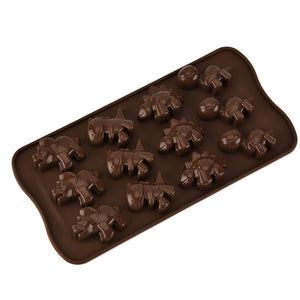 12 Hole Dinosaur Silicone Ice Mold Animal Cartoon Silicone Chocolate Cake Chocolate Baking Mold