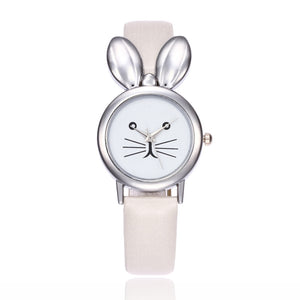 Rabbit Shape Small Cute Plate Leather Band Wristwatch for Students
