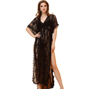 Lace transparent sex robe sexy lingerie open skirt foreign trade spot nightclub carnival costumes