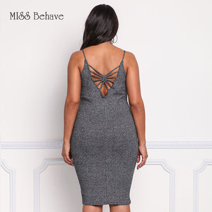 Spaghetti Straps Knitting Base Dress for Autumn Fashion