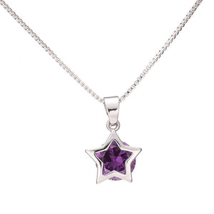 Silver Plated Hollow Tone Zircon Star Necklace Crystal Pendant Necklaces for Women Long Chain Jewelry Gifts