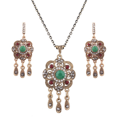Ethnic Style Jewelry Set Green Red Color Flower Pattern Geometric Collar Long Chain Necklace And Drop Earrings For Women