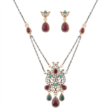 Vintage Stone Jewelry Set for Women Rhinestone Pendant Necklace with Stones Drop Earrings Ethnic Jewelry Sets