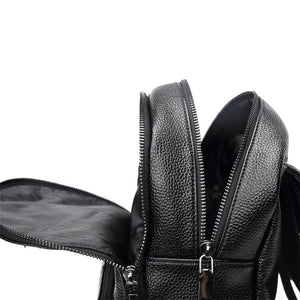 Black Flap Over Simple Design Women Backpack