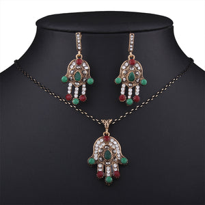 New Palm-shaped Pendant Necklace & Gold Rhineston Drop Earrings Sets for Women Jewelry Accessories Vintage Jewelry Sets