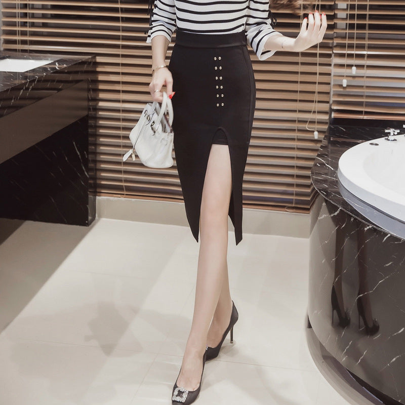 High Cut Rivet Details Pencil Slim Fitting Skirts for Women