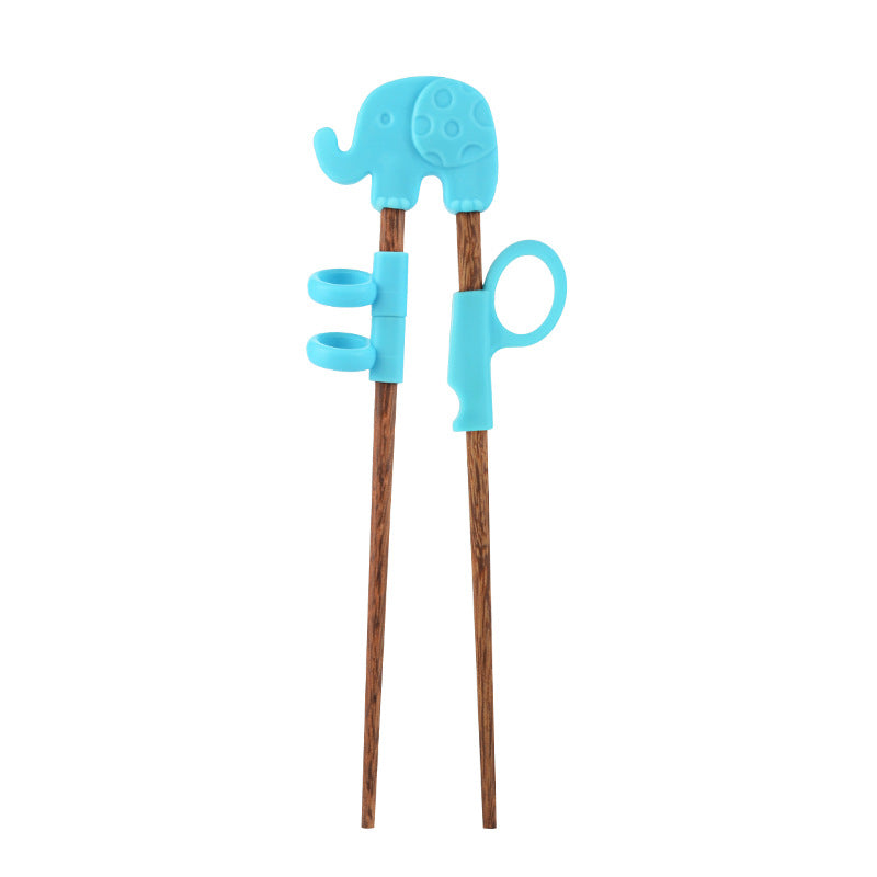 1Pair Cute Children Chopsticks For Kids Baby Wooden Cartoon Learning Reusable Straw Training Chopsticks Home Baby Products