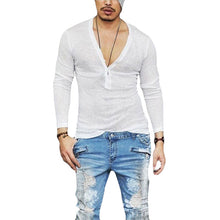 Deep V Neck Long Sleeves Thin and Breathable Tops for Men
