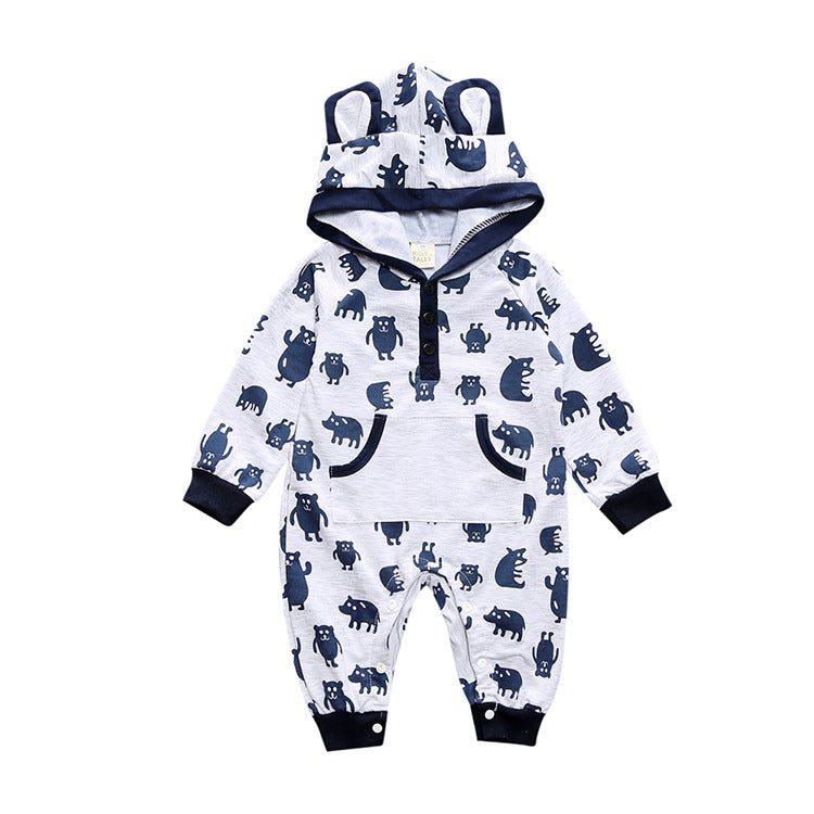 Cartoon Concept Cute Baby's Overalls with Kangaroo Pocket