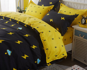 Black and Yellow Thunder Pattern Bed Sheet Set Soft and Luxury Beddings Set