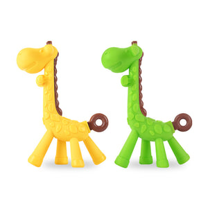 Silicone Teether Baby Cute Giraffe Soother Infant Pacifier Teething Care Toddler Chupeta Dummy Holder Soothing Nipple Teat