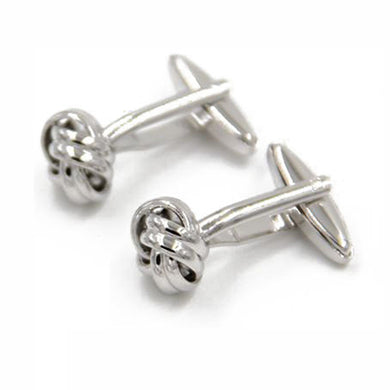 Braided Pure Color Silvery Dress Shirt Cuff Links