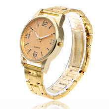 3D Digit Numerals Steel Band Analog Quartz Watch