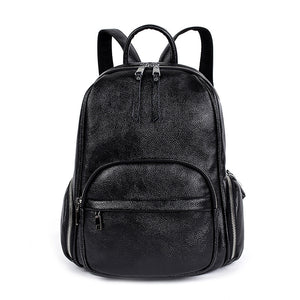 Big Capacity Soft PU Leather Black Simple Design Women Backpack