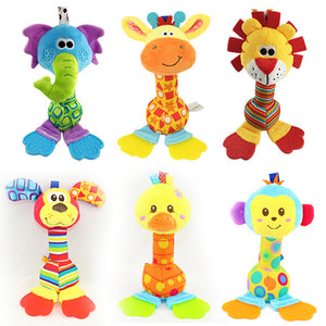 New Hot 1PCS/Pack Giraffe Or Lion Baby Toys Rattles Mobile Cartoon Animal Plush Toys Hand Stick With Tooth Rubber