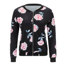 Floral Print Roses Pattern Black Slim Casual Jacket for Women