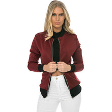 Simple Design Long Sleeves Zipper Through Solid Color Women's Jacket