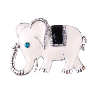 Rhinestone Detailed Vivid Elephant Brooch