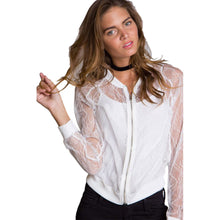 Sheer Lace Outfit Floral Pattern Long Sleeves Coat for Women