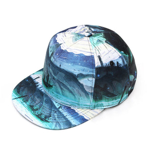 Cliff Pattern Flat Trim Trucker Cap