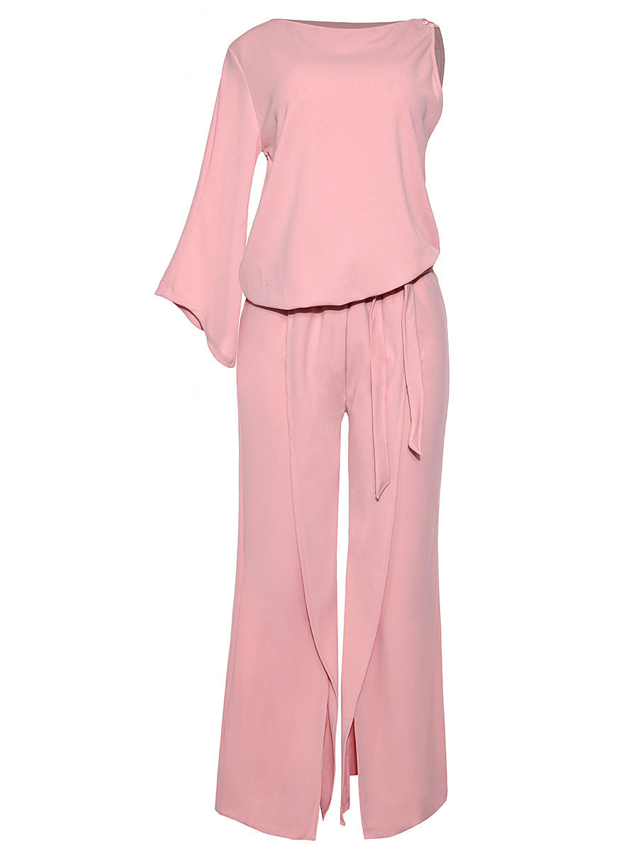 Unbalanced Sleeves Pattern Loose Fitting Bell Bottom Jumpsuits
