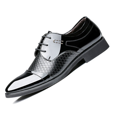 Men's Breathable Plaid Check Pattern Detailed Dress  Leather Oxfords Shoes