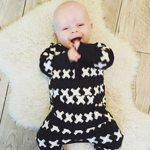 Black and White Classic Baby's Long Sleeves Overalls
