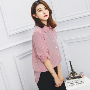 New Spring Autumn Women Blouse Flower V-Neck Long Sleeve Work Shirts Women office Tops Striped blouse for business