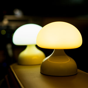 USB Rechargeable Cartoon Silicone Mushroom LED Night Light Table Lamp Bedroom Decor Battery Powered + Hanging Hook 4Color