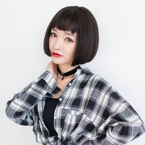 Popular Female BOBO Short Straight Bangs Fashion Wigs
