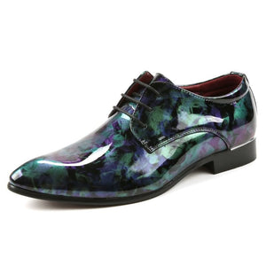 Men Formal Dress Shoes Pointed Toe Floral Pattern Leather Shoes Men Oxford Shoes (1 pair)