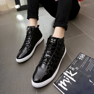New Arrival Breathable Mens Plate Shoes Round Head Lace-Up Shoes Height Increasing Light Male Casual Shoes (1 pair)