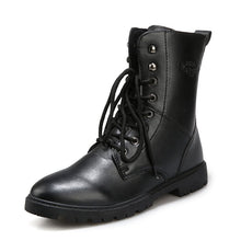 Men Fashion PU Leather Lace-up Motorcycle Boots Black Vintage High Top Shoes Man (1 pair)