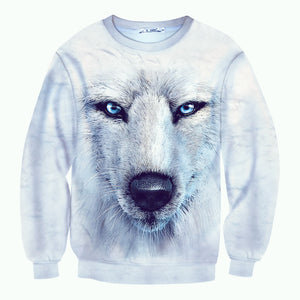 Snow Wolf Pattern Long Sleeves Pullover Sweatshirt for Men