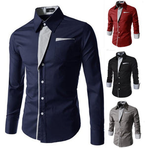 Men's Casual Dress Shirt with Fake Handkerchief Pocket