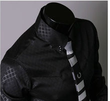 Plaid Check Pattern Black Long Sleeves Business and Casual Shirts for Men